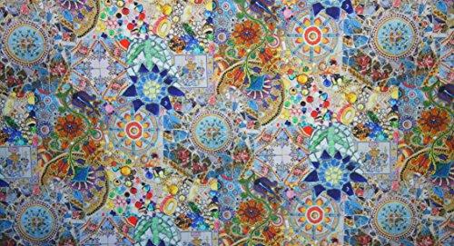 Boxsport-Bekleidung Mosaik blau bedruckt, Digital Print Stoff Meterware, Rot, Blau, Gelb -
