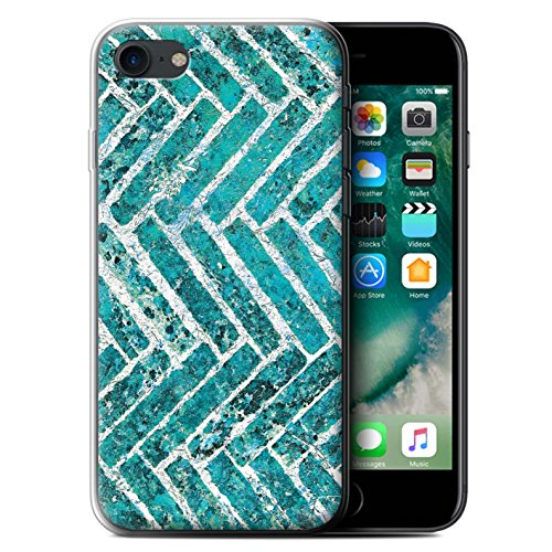 Stuff4 Gel TPU Hülle / Case für Apple iPhone 7 / Martini-Glas/Alkohol Muster / Teal Mode Kollektion Ziegel/Stein/Mauer