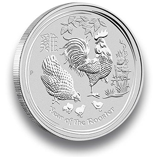 5oz Silbermünze LUNAR II 2017 Jahr des Hahn - 5 Unzen Silber einzeln in Münzkapsel verpackt (Silber Münzen 5 Oz)