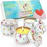 LA BELLEFÉE Bougies Parfumées Collection Licornes Coffret Bougie à la Cire de Soja Naturelle pour Anniversaire et Décoration