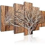 murando - Bilder 100x50 cm - Vlies Leinwandbild - 5 Teilig - Kunstdruck - Modern - Wandbilder XXL - Wanddekoration - Design - Wand Bild - Baum Holz Bretter b-C-0046-b-n