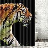 ALSTONXIN Tier Tiger Duschvorhänge Anti-Schimmel Duschvorhang Home Bad Vorhänge Schwarz Braun Weiß 36