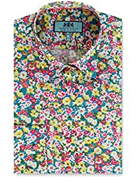 d605457f HAWES & CURTIS Womens Blue & Yellow Floral Print Semi Fitted Shirt Single  Cuff