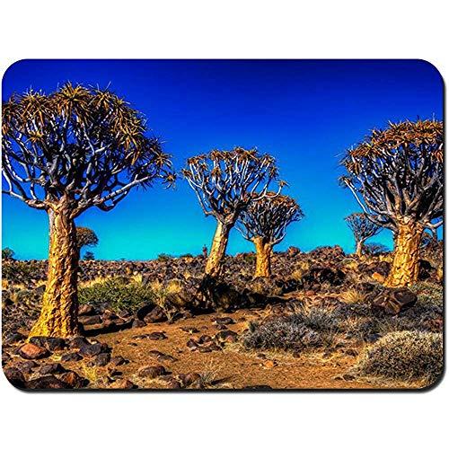 Mauspad,Kalahari Köcher Baum Feld Landschaft Angepasst Rechteck Rutschfeste Gummi Mousepad Gaming Mouse Pad,22X18Cm -