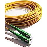 Elfcam®- Câble/Rallonge Fibre Optique Orange SFR Bouygues - 0,5M - Jarretière Simplex Monomode SC/APC à SC/APC - Blindage et