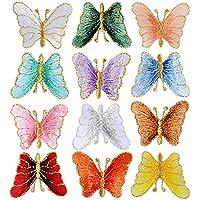 BETESSIN 12pcs Parches Termoadhesivos de Mariposa Apliques Bordados para Ropa Pegatinas para Ropa con Plancha para Decoración de Ropa Chaquetas Cazadoras Vaqueros