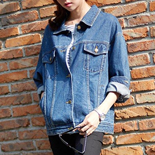Sharewin weit geschnittene Damen-Jeansjacke im Boyfriend-Stil, langärmlig, blau, robust, ausgewaschen, Taschen und Knöpfe Gr. Large, blau - 3