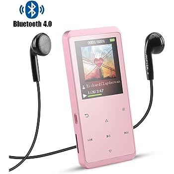 AGPTEK Lettore Mp3 8 GB con Bluetooth 4.0, A07GU Lettore Musicale Metallico con Altoparlante, Radio FM, Pulsante di Tocco, Memoria Estendibile Fino a 128 GB, Rosa