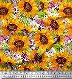 Soimoi Orange Baumwolljersey Stoff Blätter und