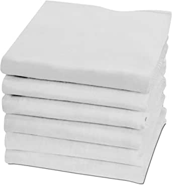 Softfabric Men's White Handkerchiefs, 100% Pure Soft Cotton Handkerchief, Pocket Square Hankies, Great Gift, King Size 50 x 50 cm, Pack of 6