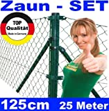 Maschendrahtzaun - SET 125cm 25 Meter lang Maschendraht