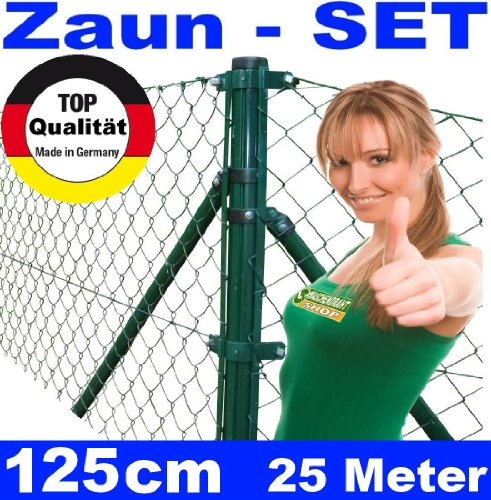*Maschendrahtzaun – SET 125cm 25 Meter lang Maschendraht*