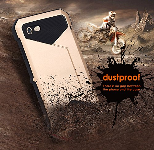 iPhone 7 Hülle, Feitenn Waterproof Protective Metall Schutzhülle Extreme Water Resistand Full Body Shockproof Aluminium Alloy Military Bumper Heavy Duty Cover Shell Case Grilla Glass Protector für iPh Gold