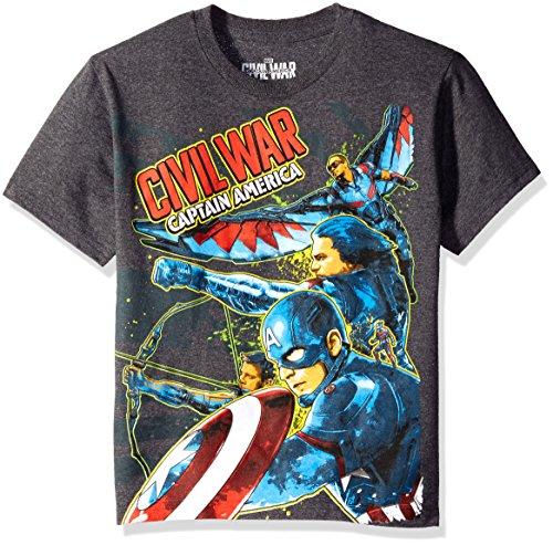 Marvel Boys' Big Boys' Run for the Border T-Shirt, Charcoal Heather, Medium (Bekleidung Kids Charcoal Big)