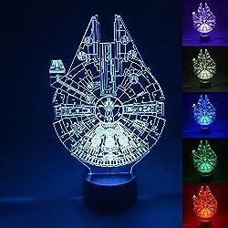 Luz LED en 3d, Star Wars Millennium Falcon Multi 7color botón de carga LED escritorio lámpara de mesa dormitorio niños habitación decorativo luz nocturna