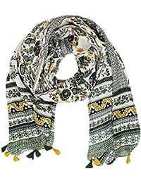 Mevina Damen Schal mit Quasten Bommel Paisley Retro Vintage Blumen Print Muster groß Tuch Halstuch Premium Qualität