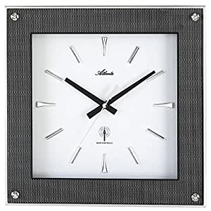 Atlanta Horloge murale radio-pilotée en carbon–de style moderne carré blanc noir horloge radio