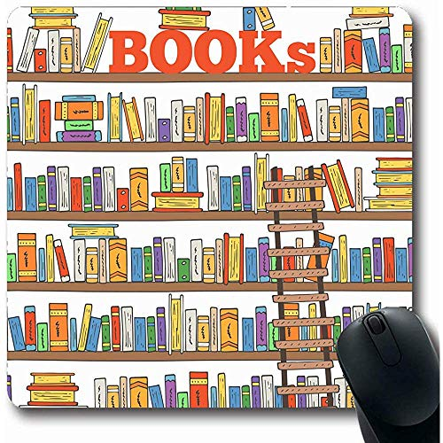 Spielmatte Grafik Gekritzel Bücher Regale Vereinsregal Buchhandlung Bücherregal Bibliothek Klassenzimmer Design Stapel Mauspad Rutschfeste Gaming Mousepads Computer 25X30cm -