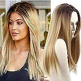 Long Cheveux raides synthétiques Perruques deux tons Noir ombré Blond Perruque résistant à la chaleur Fibre foncé racines Blond Longue Ombre Perruques