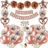 SPECOOL Decorazioni per Feste di Compleanno con Cake Topper DIY, Banner di Buon Compleanno, Nappe Scintillanti, Palloncini con Coriandoli con Lettere, Decorazioni Uniche per Compleanno(Rose Gold 1)