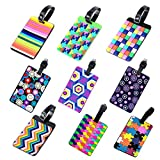Amazing Tour PVC Luggage Tag Travel Suitcase Labels Travel ID Card Holder with Adjustable Strap 9 Pieces of Multicolor