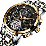 Lige Herren Automatik Mechanische Klassische Stil Uhr Mit Edelstahl Armband Wasserdichte 9851