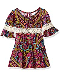 Youngland Baby Girls Paisley Tiered Boho Dress with Lace Trim