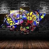 Regalo Creativo 5 Paneles de Lienzo Arte de la Pared Impresiones en Lienzo Decoración de la Sala de Estar del hogar Moderno D