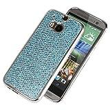 Hülle für HTC M8, Schutzhülle für HTC M8, Ysimee Luxus Glänzend Glitzer Sparkle Silikon Hülle Ultradünnen Weiche Telefon-Kasten Handyhülle Bumper Telefonhülle für HTC M8 Anti Scratch Anti Staub und Stoßfest Gummi Bumper Cover Shell Haut Sparkle Shine Case Soft Gel Silikonhülle für für HTC M8 Hülle + 1 x Blau Stylus Pen, Blau