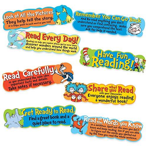 Eureka Schreibtafel für Schulanfänger Dr. Seuss Motivationsschild und Klassenzimmer-Dekoration, 16,5 x 0,1 x 66 cm, 8 Stück (Seuss Dekorationen Dr)