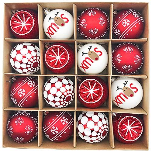 Victor\'s Workshop Weihnachtskugeln 16 TLG. 7cm Plastik Christbaumkugeln Set Christbaumschmuck für Weihnachtsbaum Dekoration Weihnachtsdeko Hausdeko Oh Hirsch Thema Rot Weiss MEHRWEGVERPACKUNG