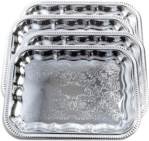 Maro Megastore (4er Pack) 34 cm x 25,5 cm Rechteckige Längsborte Gravierter Servierteller aus Chrom Spiegel Catering-Tablett (Klein) T227s-4pk Trim Pack Fällen
