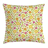 OQUYCZ Floral Throw Pillow Cushion Cover by, Colorful Spring Themed Flower Petals Summer Florets Funky Girls Design, Decorative Square Accent Pillow Case, 18 X 18 Inches, Pink Marigold Lime Green