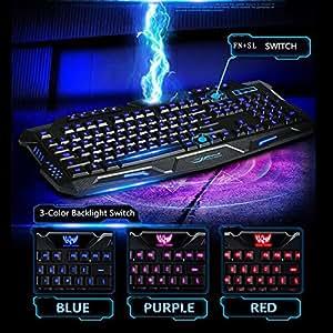 AGPtek®3-Color Rouge/Bleu/ Violet LED commutateur rétroéclairage USB filaire mécanique Feel Gaming PC / Laptop Clavier Teclado Gamer Périphériques informatiques clavier qwerty peut changer en 3 couleurs avec un excellent touch