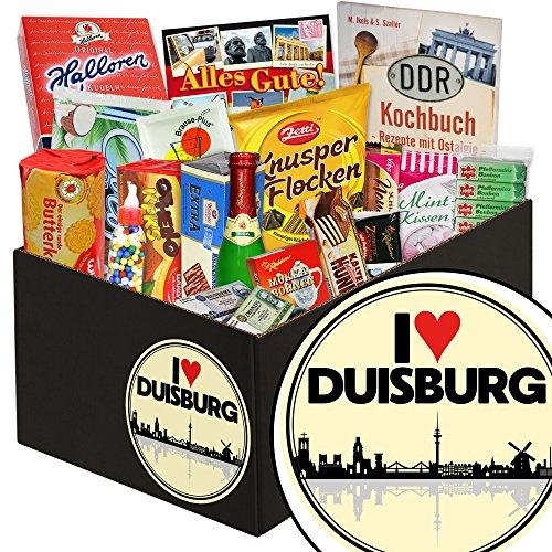 I love Duisburg ❤️ Süßigkeiten Geschenkkorb ❤️ Geschenkkorb ❤️ I love Duisburg ❤️ Ostalgie Box ❤️ mit Zetti Cocosflocken, Viba und mehr ❤️ GRATIS DDR Kochbuch