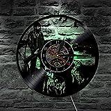 Lyq 12' Jagd Hund Tier Silhouette Led Hintergrundbeleuchtung Modern Licht Vinyl Uhr Farbe Veränderung Leben Zimmer Dekor Lampe Fernbedienung Steuerung