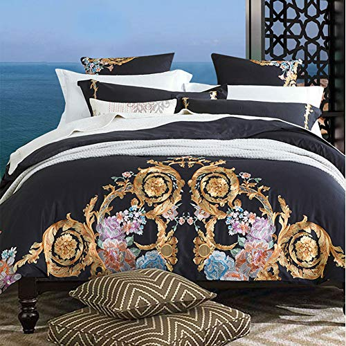 QYZLT Damast Bettbezug Doppelbett Doppelbettbezug mit Reißverschluss Ethnic Theme Super weicher Stickgarn eleganter Bettbezug Gesticktes Bettdecken-Set,Black,86