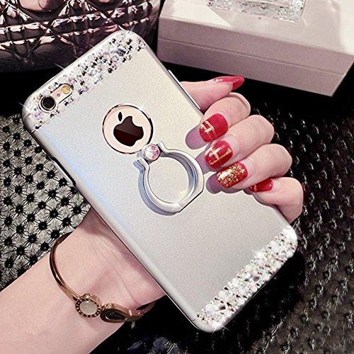 Etsue Glitzer Silikon Schutz HandyHülle für iPhone 6S Plus/iPhone 6 Plus Spiegel TPU Hülle, Mirror Effect Luxus Kristall Glitzer Glanz Sparkles Bling Diamant Silikon Handytasche iPhone 6S Plus/iPhone  Glitzer Silber