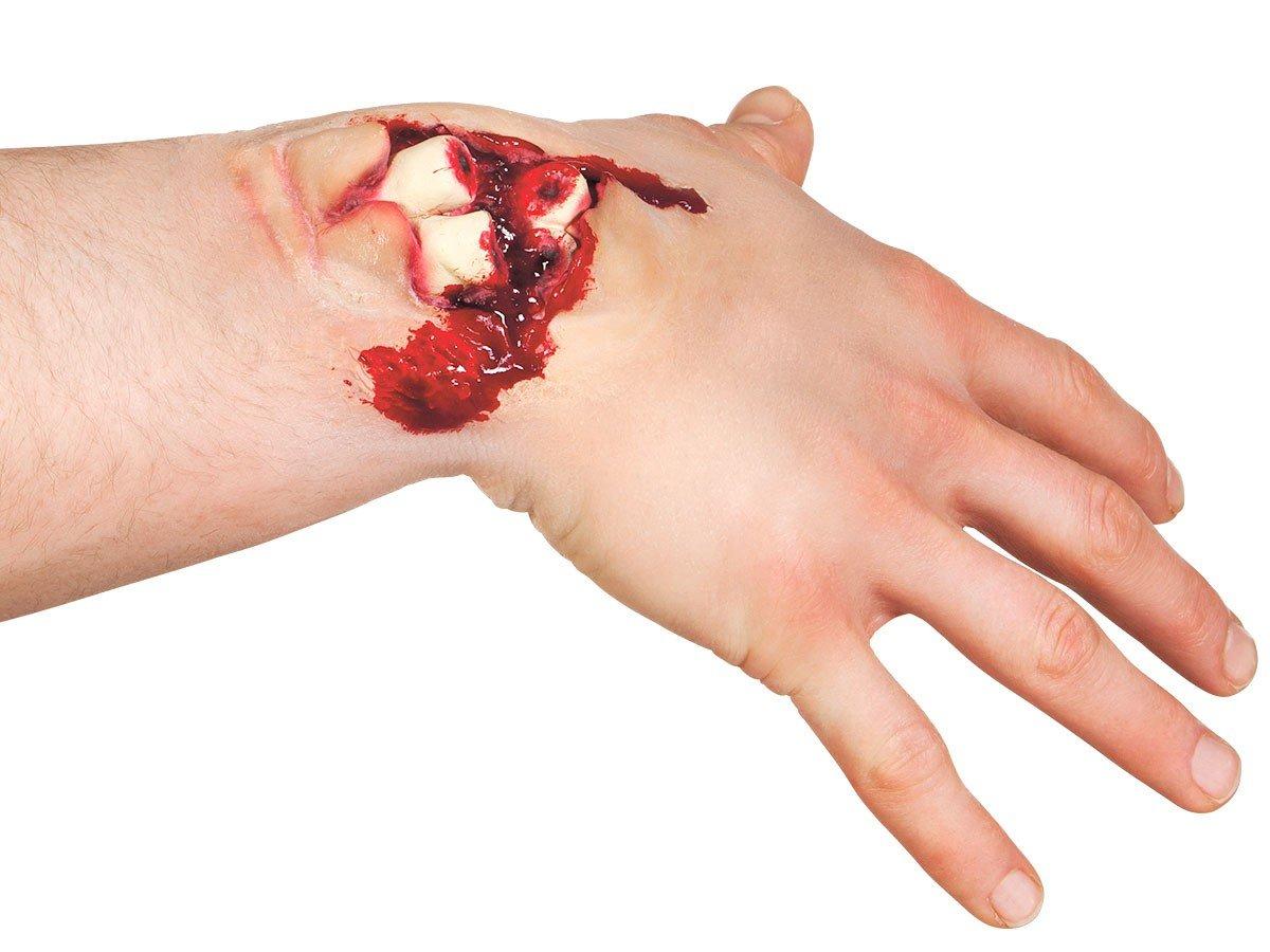 Alsino Effekt Wunden Wundenset Halloween Zombie Horror Make up Fake Latex Wunde, Variante wählen:72200 Schnittwunde