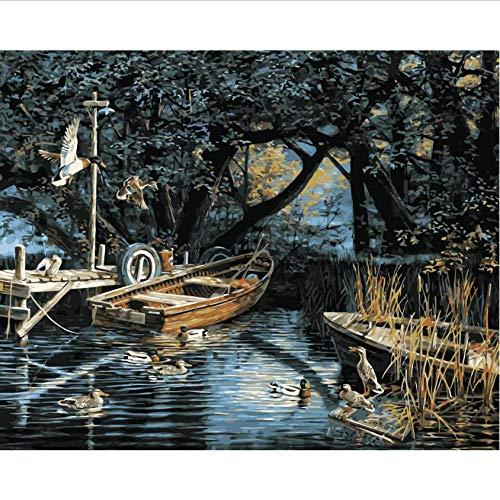 Hyllbb DIY ölgemälde Lakeside Vögel Und Enten Set Zum Ausmalen Nach Zahlen Kunst Tierbilder Für Wohnzimmer Wohnkultur-40 * 50Cm,With Frame - Ente Frame