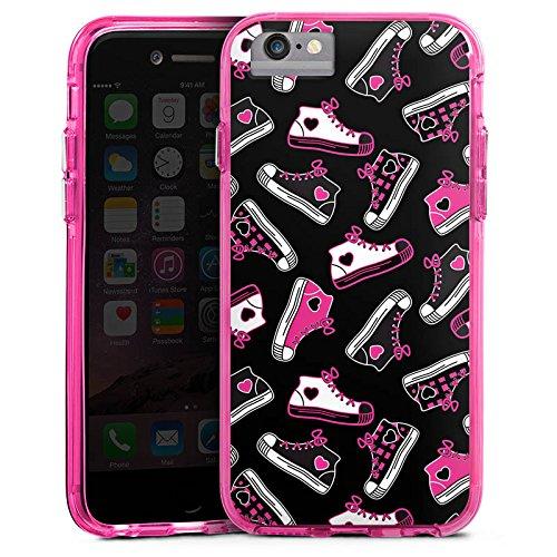 Apple iPhone 6s Plus Bumper Hülle Bumper Case Glitzer Hülle Sneaker 90s 90er Bumper Case transparent pink