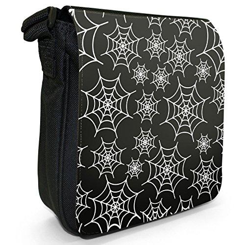 Spider Web Colorato Piccola Borsa A Tracolla Tela Nera Tela Di Ragno Bianca
