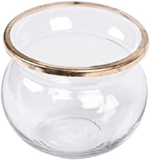 Scrafts Glass Pot Shaped Ring Glass Jar (Golden, 4x4x4 Inches)