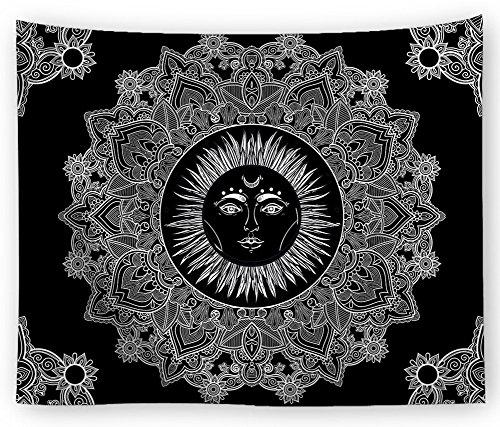 Magiböes Noir ou bleu marine Mandal Ethnic Tournesol Print Tapisserie psychedielic himm lische mural Teppiche Hippy Boho Gypsy Serviette de plage Nappe, Polyester, noir, 79*59in