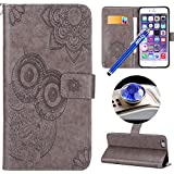 Etsue iPhone 6S Plus/iPhone 6 Plus Leather Case, iPhone 6S Plus/iPhone 6 Plus Mandala Flower Cute Owl Embossed Slim Retro Luxury PU Leather Wallet Flip Case with Card Slots & Wrist Strap Magnetic Closure Protective Skin for iPhone 6S Plus/iPhone 6 Plus+Blue Stylus Pen+Glitter Dust Plug-Owl,Gray