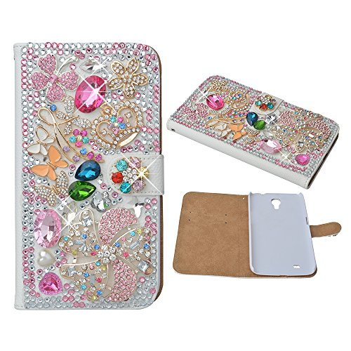Evtech (TM) motivo floreale con corona cristallo bling glitter custodia a libro in pelle PU (Bloom Stained Glass)
