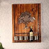 Z&YQ Portabottiglie in legno massello Arte del ferro Decorazione del modello albero Appeso a parete 5 bottiglie