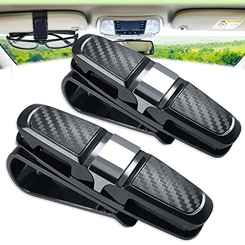 Price comparison product image Glasses Holder for Car Sun Visor Clip, Amison 2 Pack Double Sunglasses Eyeglasses Mount with Ticket Card Slot
