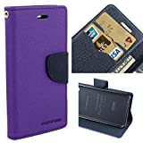 CEDO Polycarbonate Luxury Mercury Magnetic Lock Diary Wallet Style Flip Cover Case for Samsung Galaxy On7 Pro and On7 (Purple)