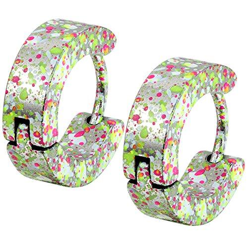 Flongo 4mm Boucles Oreilles Acier Inoxydable Charme El¨¦gant Fantaisie Bijoux Cadeau Multi-colore Vert Violet Rose pour Femme Homme Vert;Violet;Rose